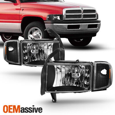 Fit 1994-01 Dodge Ram 1500 2500 3500 Pickup Black Headlights Corner Signal Lamps