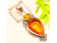 """YELLOW CITRINE VINTAGE STYLE 925 STERLING SILVER PENDANT 2.34"""""""