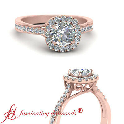 .75 Ctw Round Cut Diamond Antique French Pave Halo Engagement Ring In Rose Gold