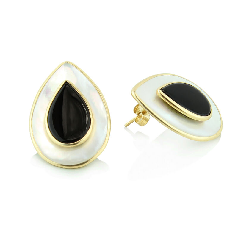 14K Yellow Gold Gemstone Earrings With Mother Of Pearl And Onyx