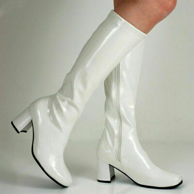 White Go Go GoGo Ladies Mens Retro Boots Womens Knee High Boots 60s 70s Siz 3-12