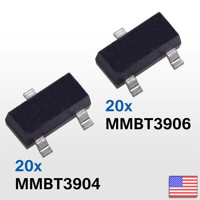 40pcs 20-mmbt3906 2n3906 Pnp 20-mmbt3904 2n3904 Npn Transistor Smd -fast Us Ship
