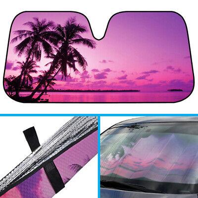 Purple Tropic Island Sunset Auto Sun Shade for Car SUV Truck Windshield Sunshade