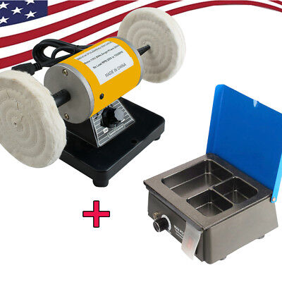 Dental Lathe Polish Machine Polisher3-well Wax Melt Pot Heater Melter Lab Usa