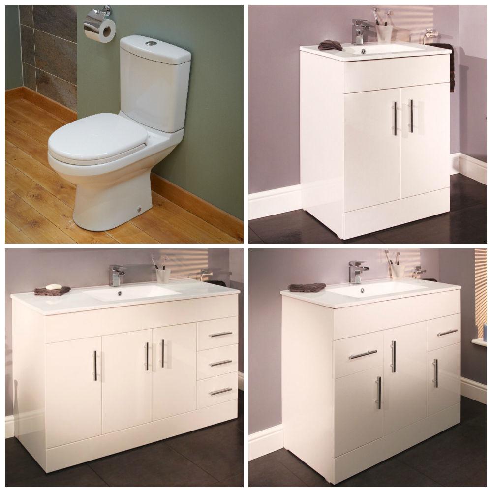 Bathroom Combination Unit ; White Cupboard Storage Basin & Toilet ...