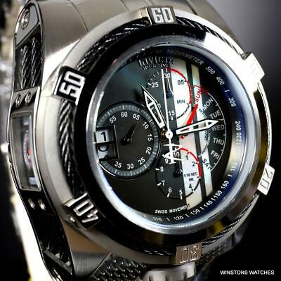 Invicta Reserve Bolt Zeus Tria Swiss Mvt Steel Black MOP 3 Dials Watch 56mm New
