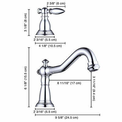 """3 Hole 8"""" Widespread Bathroom Basin Faucet Sink Mixer Tap 2 Handles Polished 7"""