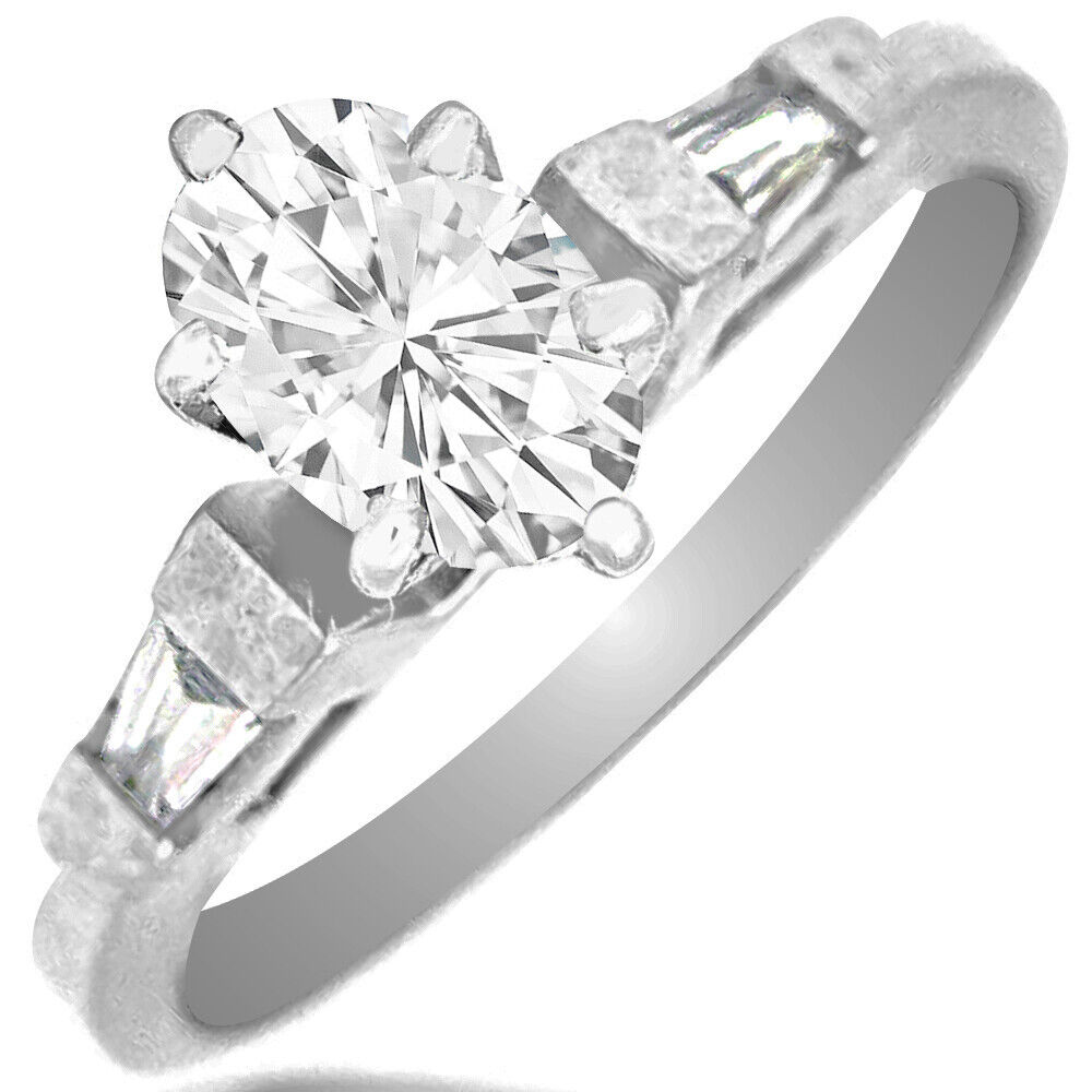 GIA Certified Diamond Engagement 3 Stone Ring 1.30 CTW Oval Shape 18k White Gold