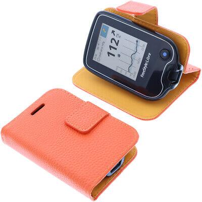 Tasche für Abbott Freestyle Libre 2 Book-Style Schutz Hülle Case Buch Orange