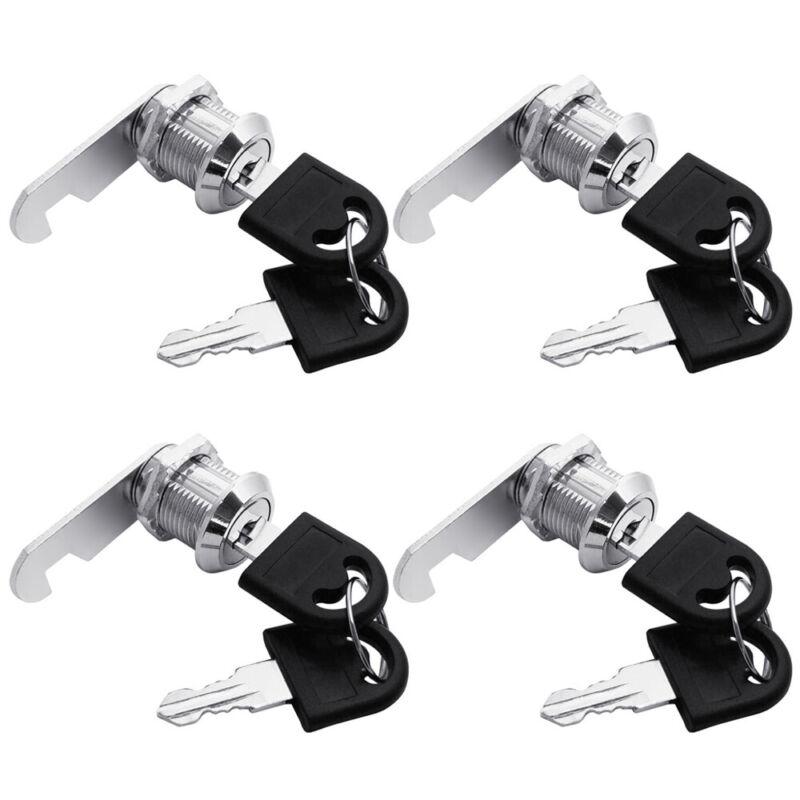 "4 x Tubular Cam Lock 5/8"" keyed alike for Drawer Cabinet Toolbox, RV, Camper"