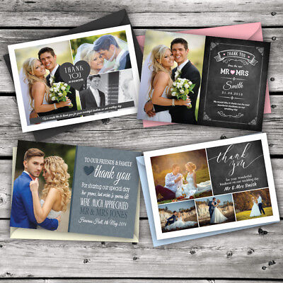 50 x Personalised Wedding Thank You Cards with Photo + Limited time only £15.99](Photo Thank You Cards Wedding)