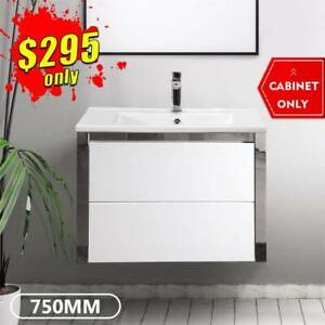 *NEW ARRIVAL* Bathroom Vanity 750mm Cabinet Ceramic Finger Pull DEENA
