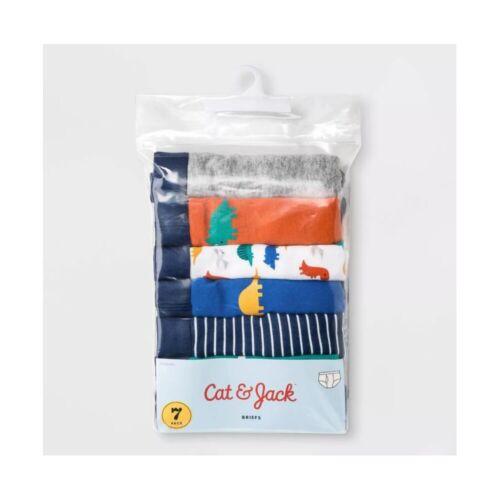 NEW Toddler Boys Briefs 7PK Dino Print - Cat & Jack - Blue - 2T 3T