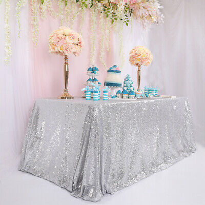 Sequin Tablecloth Rectangle 65x102inch Silver Glitter Table Cover Wedding Decor