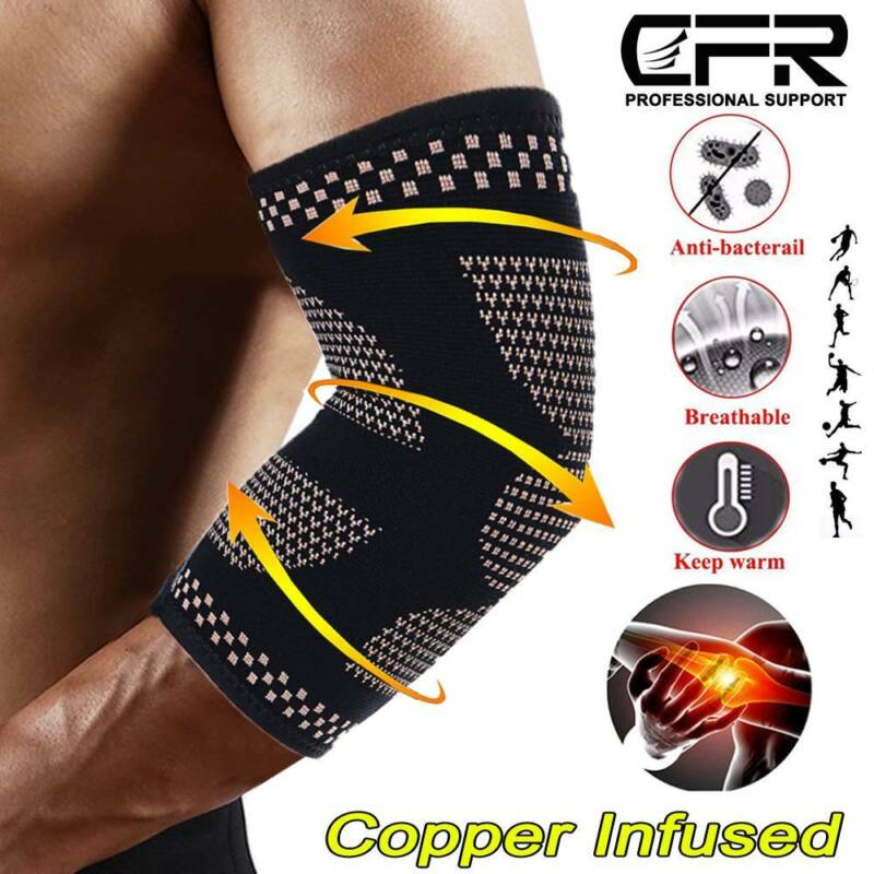 Copper Compression Elbow Sleeve Brace Tendonitis Golfers Ten