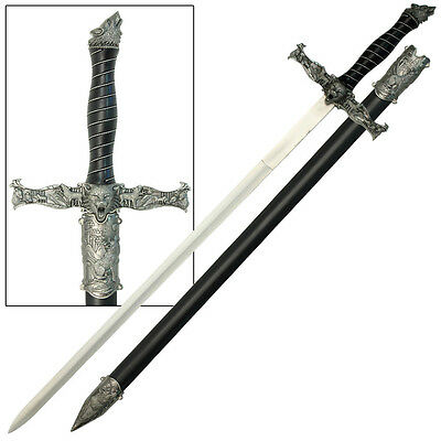Alpha Sword - Spirit of the Alpha Wolf Medieval Stainless Steel Knights Sword Costume Replica