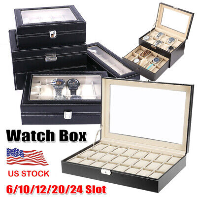 6/10/12/20/24 Slot Watch Display Leather Case Box Top Glass Organizer Men Gifts