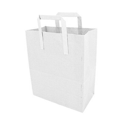 Large White Takeaway Carrier With Handles, 250+140x290mm, Paper Bag x 100