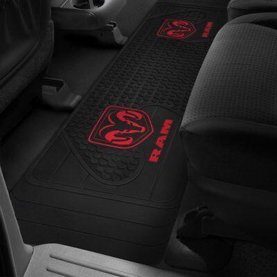 Logo Runner Mat - Rear Floor Mat RUNNER 1994-2019 Dodge Ram Truck OEM LOGO Rubber Liner Black Red