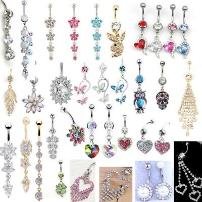 Belly Button Ring Rhinestone Hearts Pearl Butterfly Flower Tassel CZ Dangle Drop Butterfly Silver Belly Button Ring