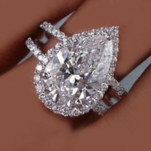GIA Certified 3.90 Carat Pear Shape Diamond Engagement Ring 18k White Gold
