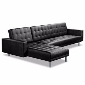 Brand New Contemporary 5 Seater Black Pu Leather Sofa Bed