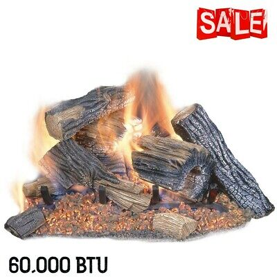 Photo Vented Natural Gas Fireplace Logs Set 24in 60,000 BTU Indoor Realist Chimney Oak