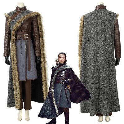 Game of Thrones Season 8 Arya Stark Cosplay Costume with Cloak