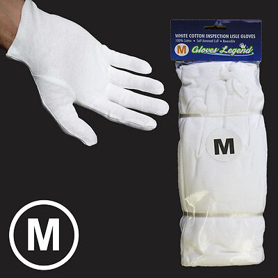 Size Medium - 24 Pairs White Coin Jewelry Silver Inspection Cotton Lisle Gloves