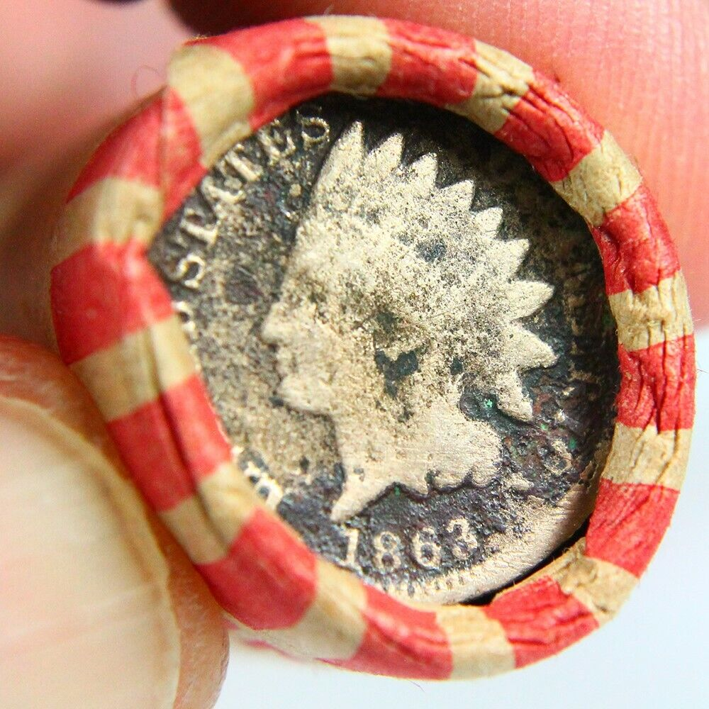 Civil War Era 1863 Indian Cent On The End Of 50 Coin Wheat Cent Roll 1365 - $3.25