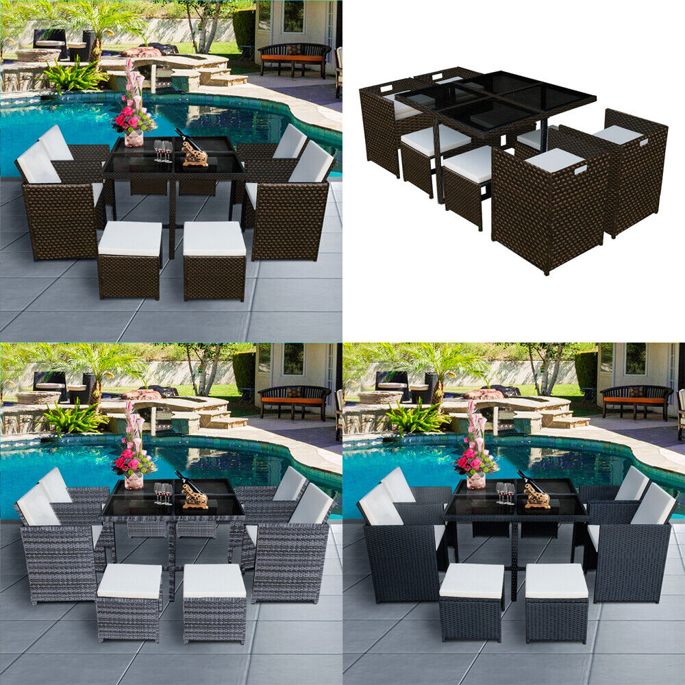 Garden Furniture - Garden 9 Pieces Rattan Cube Table Set 8 Seaters Patio Furniture Outdoor