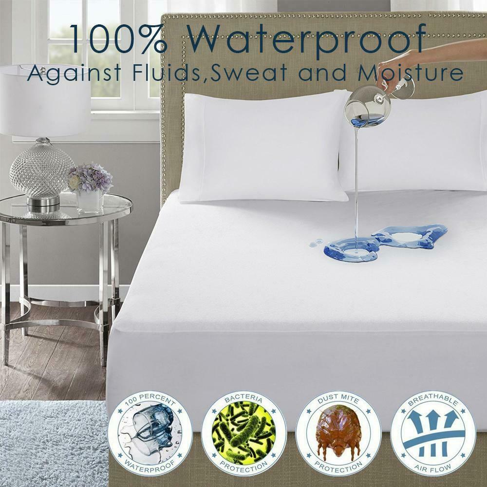 100/% WATERPROOF TERRY TOWEL MATTRESS PROTECTOR COTTON EXTRA DEEP FITTED SHEET