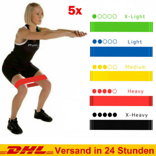 5 Set Fitnessbänder Fitnessband Widerstandsband Sport  Resistanceband Gummiband
