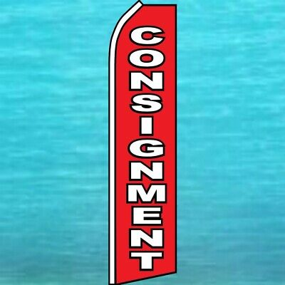 Consignment Flutter Flag Tall Curved Top Advertising Sign Feather Swooper Banner