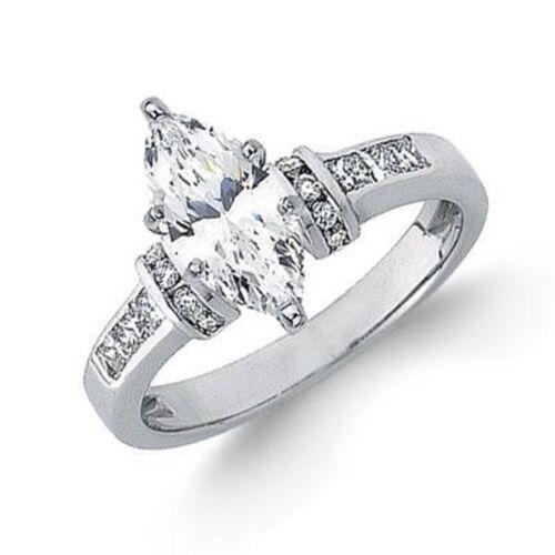 2.50 Carat GIA Certified 18k White Gold Marquise Cut Diamond Engagement Ring