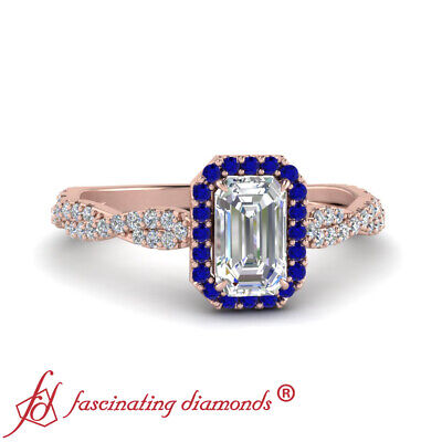 3/4 Carat Emerald Cut Diamond And Sapphire Gemstone Twisted Halo Engagement Ring 1