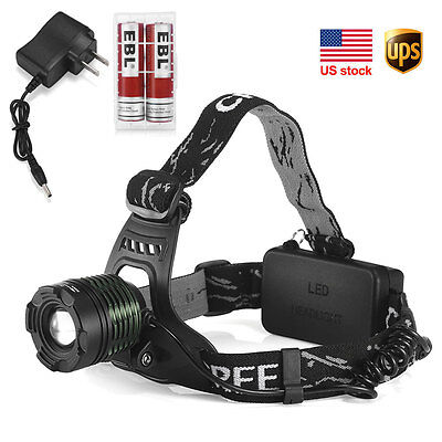 CREE XM-L T6 LED Headlight HeadLamp 2000LM 2X Rechargeable BATTERY + CHARGER