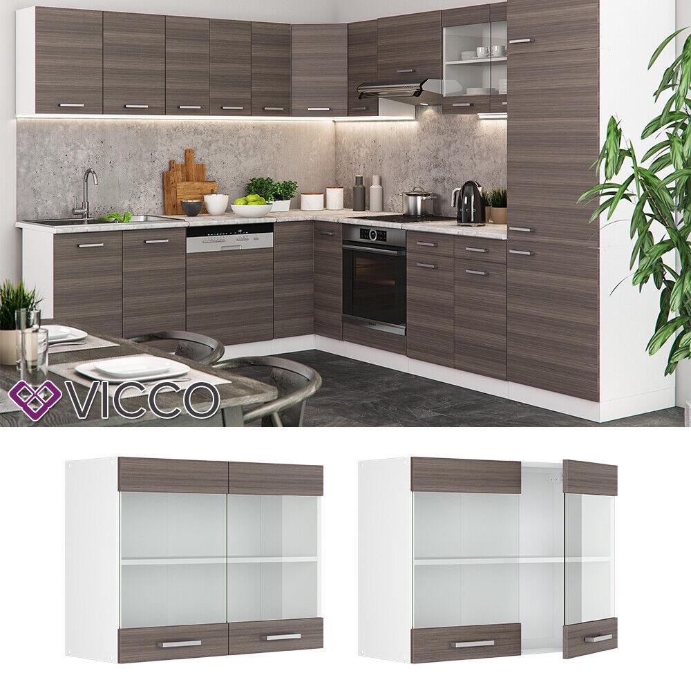 VICCO Küchenschrank Hängeschrank Unterschrank Küchenzeile R-Line Hängeglasschrank 80 cm edelgrau