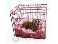 Dog crate folding flat pink small dog size vgc