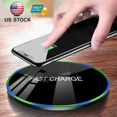 Tempered Glass Fast Wireless Charger For iPhone 11 XR XS X 8 Plus Pad Mat