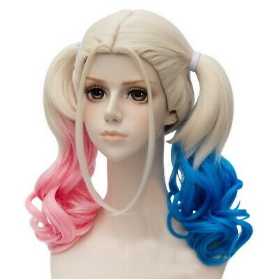 Pink Wig Costumes (Batman Arkham City Harley Quinn Wig Cosplay Costume Prop Hair Ponytail Pink)