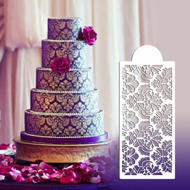 Cake stencils ebay baking tool side decor mould damask lace flower border fondant cake stencil sciox Images