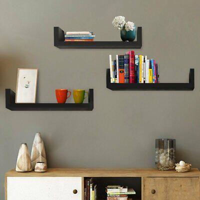 Floating Display Shelves Ledge Bookshelf Wall Mount Storage Set Of 3 Home Dcor