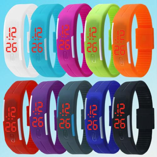 NEW Sports Rubber Silicone LED Digital Watch Bracelet Wristwatches Men's Women's