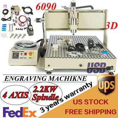 Usb Er20 4axis 2.2kw 6090 Cnc Router Metal Engraver Milling Drilling Machine Vfd