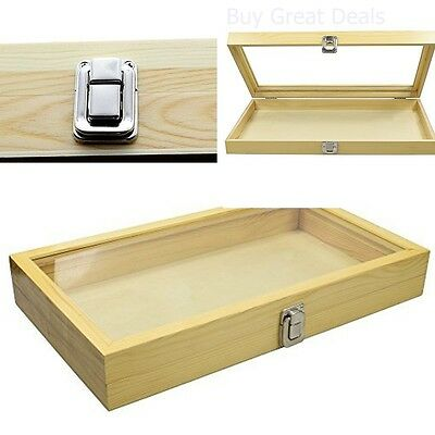 Jewelry Organizer Box Natural Wood Glass Top Display Case Storage Stand Holder