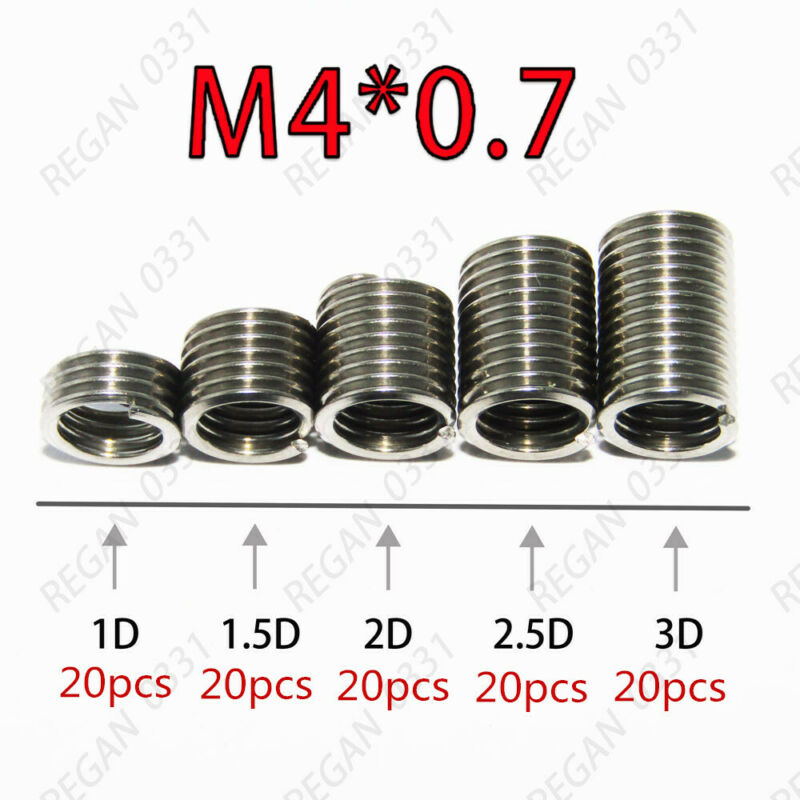 100pcs M4x0.7 Stainless Steel Helicoil Thread Inserts Assortments Metric Coarse