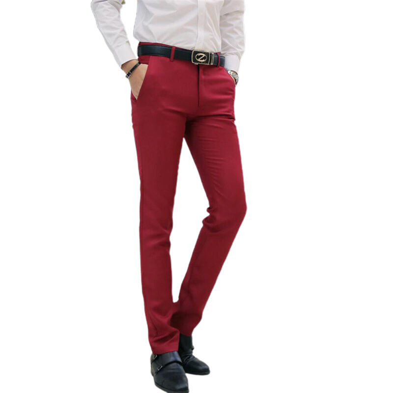 Men Office Trousers Slim Fitness Stretch Work Formal Business Suit Pants Bottoms Clothing, Shoes & Accessories