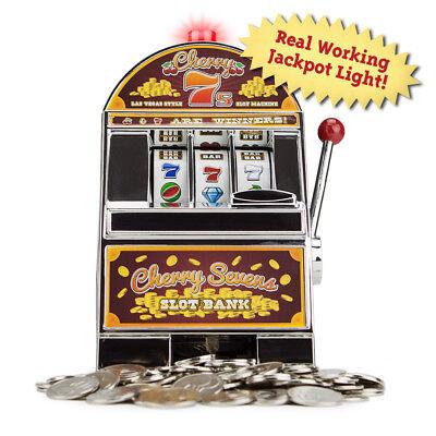 - Cherry Sevens Casino Slot Machine Savings Bank with Spinnig Wheels Jackpot Light