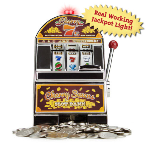 Cherry Sevens Casino Slot Machine Savings Bank Spinning Wheels Jackpot Light New